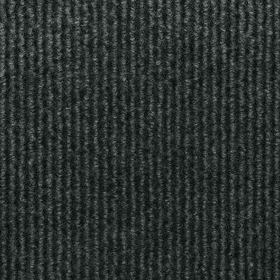 Sisteron Black Ice Wide Wale Texture 18 in. x 18 in. Indoor/Outdoor Carpet Tile (10 Tiles/Case)