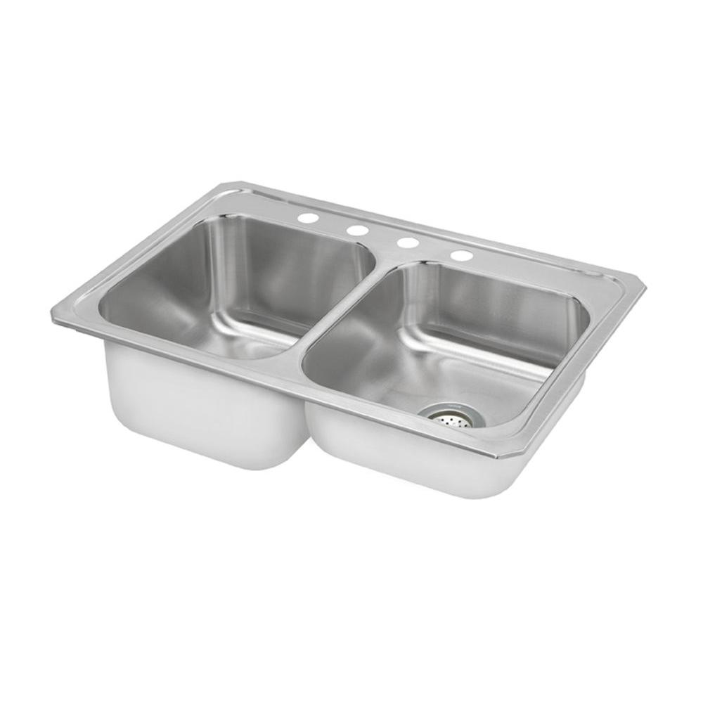 Elkay celebrity drop in stainless steel 3 hole for Colored stainless steel sinks