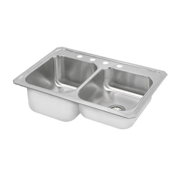 Celebrity Drop-In Stainless Steel 33 in. 3-Hole Double Bowl Kitchen Sink