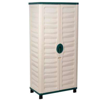 2 ft. 5 in. x 1 ft. 5 in. x 5 ft. 2 in. Plastic Beige/Green Storage Cabinet with 2 Shelves