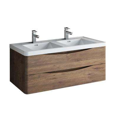 Tuscany 48 in. Modern Double Wall Hung Vanity in Rosewood with Vanity Top in White with White Basins