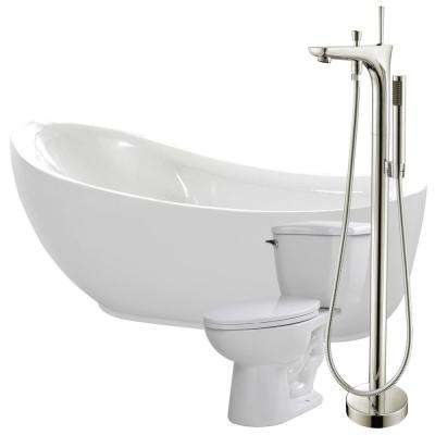 Talyah 71 in. Acrylic Flatbottom Non-Whirlpool Bathtub in White with Kase Faucet and Kame 1.28 GPF Toilet