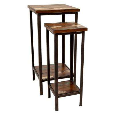 15 in. x 15 in. Brown Wood and Metal Tables (Set of 2)