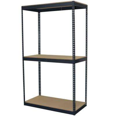 96 in. H x 48 in. W x 24 in. D 3-Shelf Steel Boltless Shelving Unit with Double Rivet Shelves and Laminate Board Decking