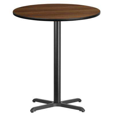 36 in. Round Walnut Laminate Table Top with 30 in. x 30 in. Bar Height Table Base