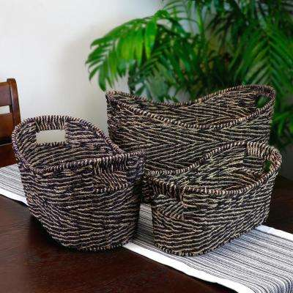 Rio Grande Water Hyacinth Wickerwork Basket (Set of 3)