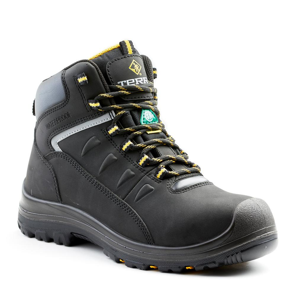 5ae6bff72dfe Terra Findlay Men s Size 10 Black Leather Composite Toe Work Boot ...
