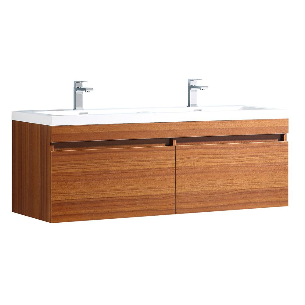 Fresca Largo 57 in. Double Vanity in Teak with Acrylic Vanity Top in White with White Basins