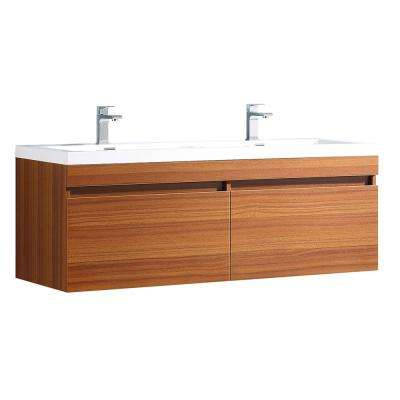 Largo 57 in. Double Vanity in Teak with Acrylic Vanity Top in White with White Basins