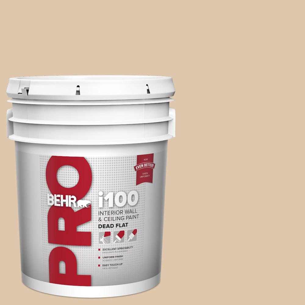 Behr Pro 5 Gal N260 2 Almond Latte Dead Flat Interior Paint Pr10505 The Home Depot