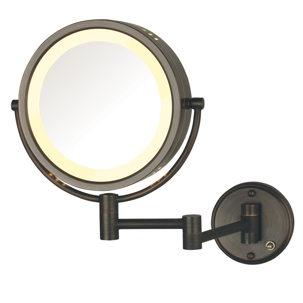 11 in. x 14 in. Lighted Wall Mirror in Bronze