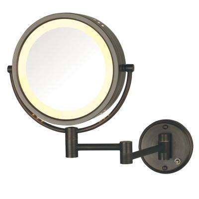 11 in. x 14 in. Lighted Wall Makeup Mirror in Bronze