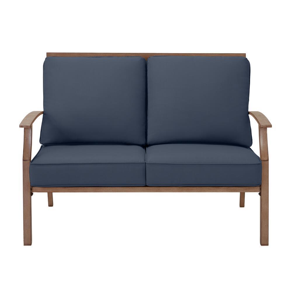 Geneva Brown Wicker Outdoor Patio Loveseat with CushionGuard Sky Blue Cushions
