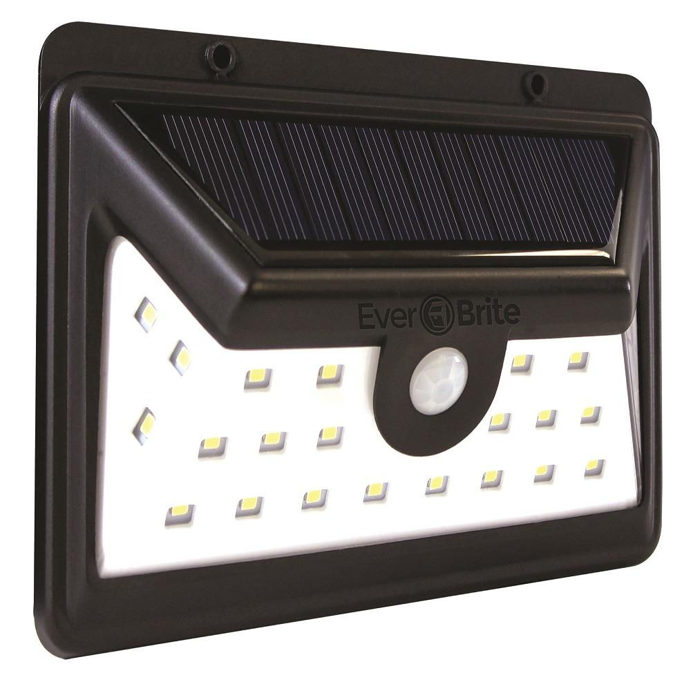 Black Motion Activated Outdoor Integrated LED Area Light with 24 White Solar Light