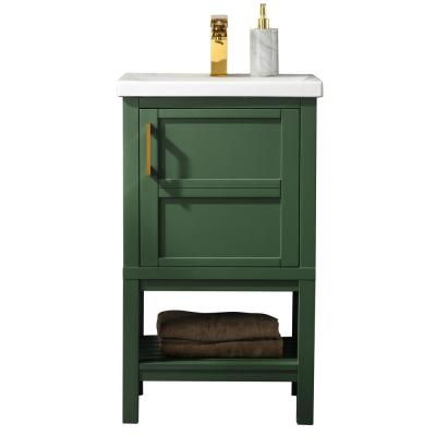 Bailey 20 in. W x 15.7 in. D Bath Vanity in Green with Porcelain Vanity Top in White with White Basin
