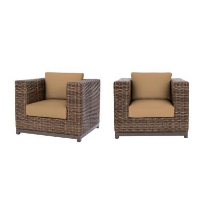 Fernlake Taupe Wicker Outdoor Patio Stationary Lounge Chair with CushionGuard Toffee Tan Cushions (2-Pack)