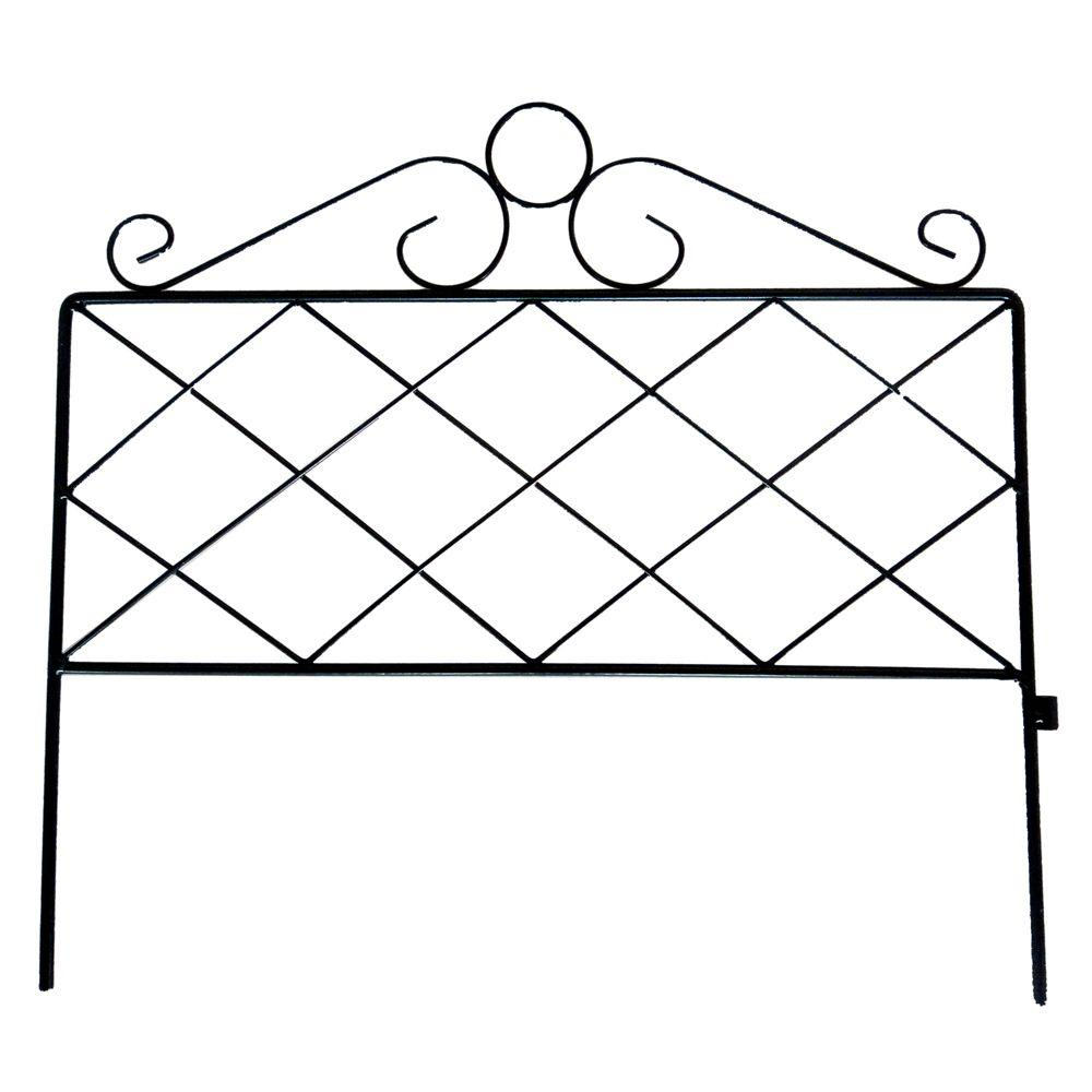 16 in. H Black Wrought Iron Coventry Border Garden Fence