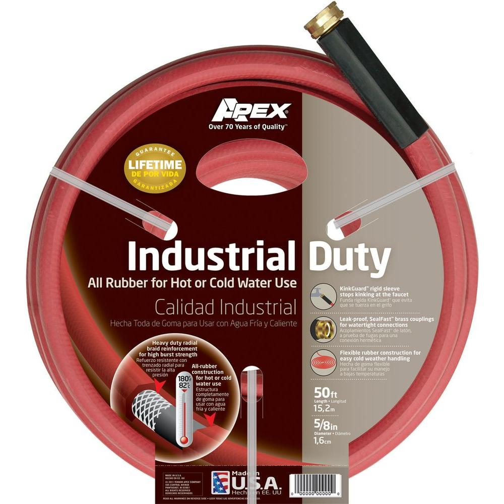 c1335dda5126 Apex 5/8 in. Dia x 50 ft. Red Rubber Commercial Hot Water Hose