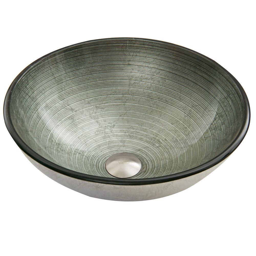 VIGO Glass Vessel Sink in Simply Silver by VIGO