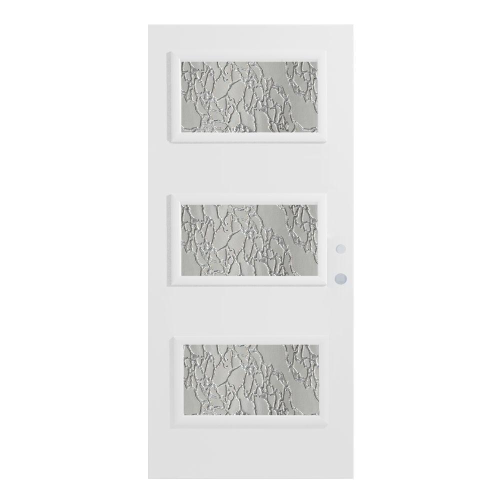 Stanley Doors 32 in. x 80 in. Dorothy Delta Satin 3 Lite Painted White Left-Hand Inswing Steel Prehung Front Door