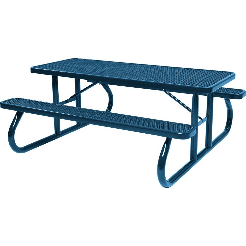 Tradewinds Park 8 ft. Blue Commercial Picnic Table