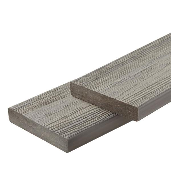 Infinity IS 1 in. x 6 in. x 8 ft. Caribbean Coral Grey Composite Square Deck Boards (2-Pack)