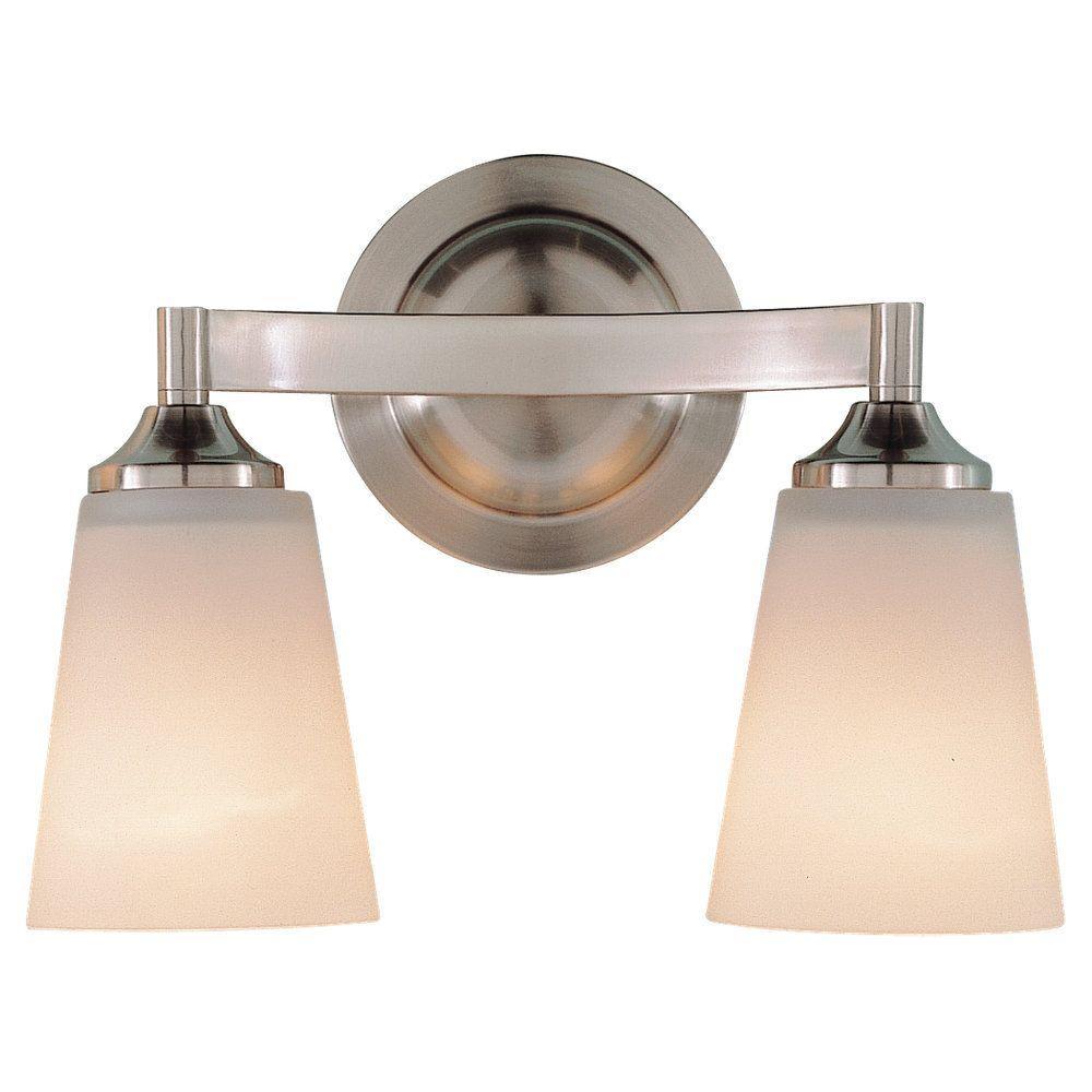 Gravity 2-Light Brushed Steel Vanity Light