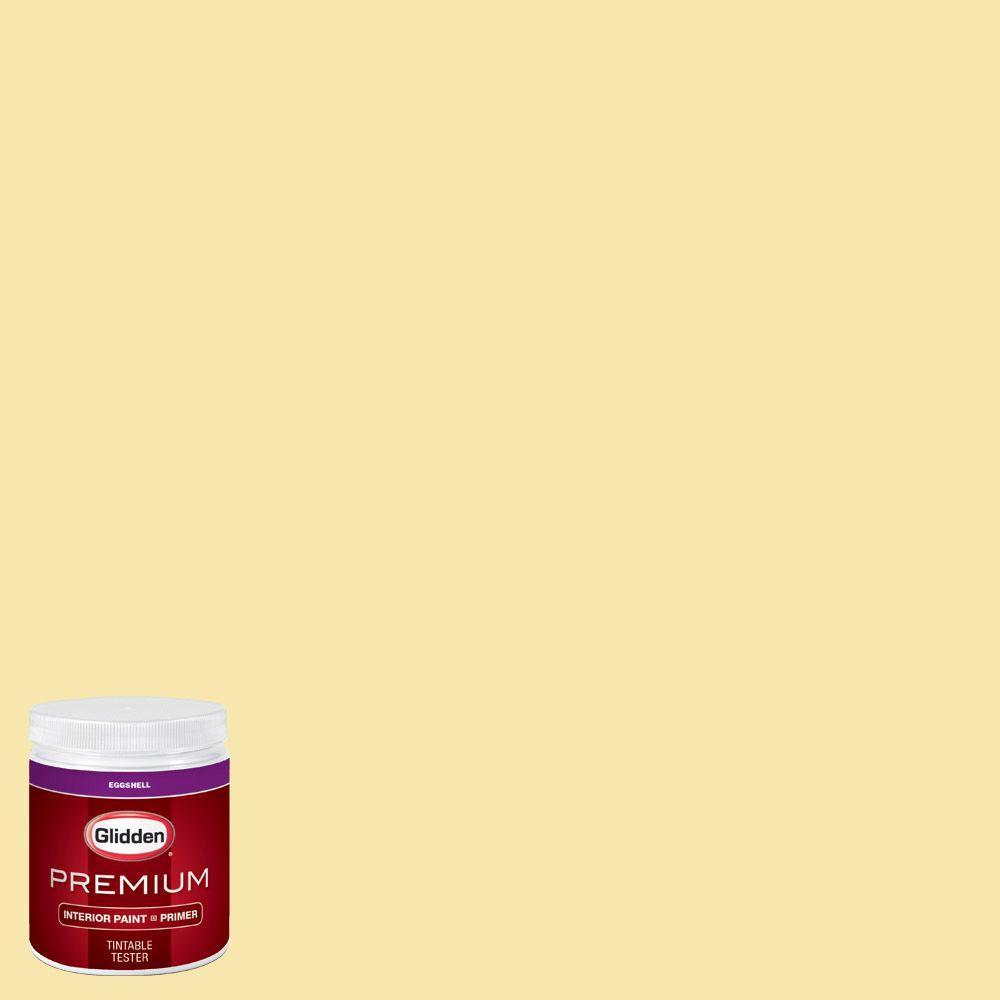 Glidden Premium 8 Oz Hdgy31d Chic Yellow Eggshell Interior Paint Sample With Primer