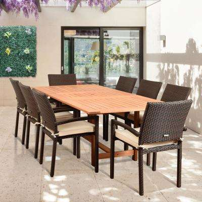 Knight 9-Piece Teak/Wicker Rectangular Outdoor Dining Set with Off-White Cushions