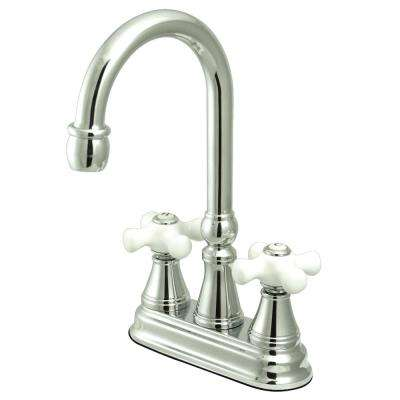 Classic 2-Handle Bar Faucet with Porcelain Handles in Polished Chrome