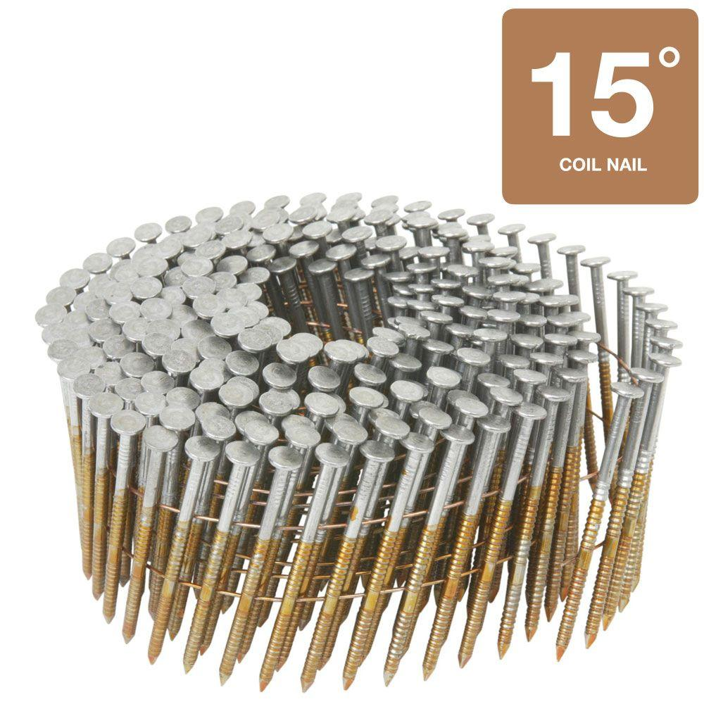 Hitachi 3 in. x 0.131 in. Full Round Head Ring Shank Brite Basic Wire Coil Framing Nails (4,000-Pack)