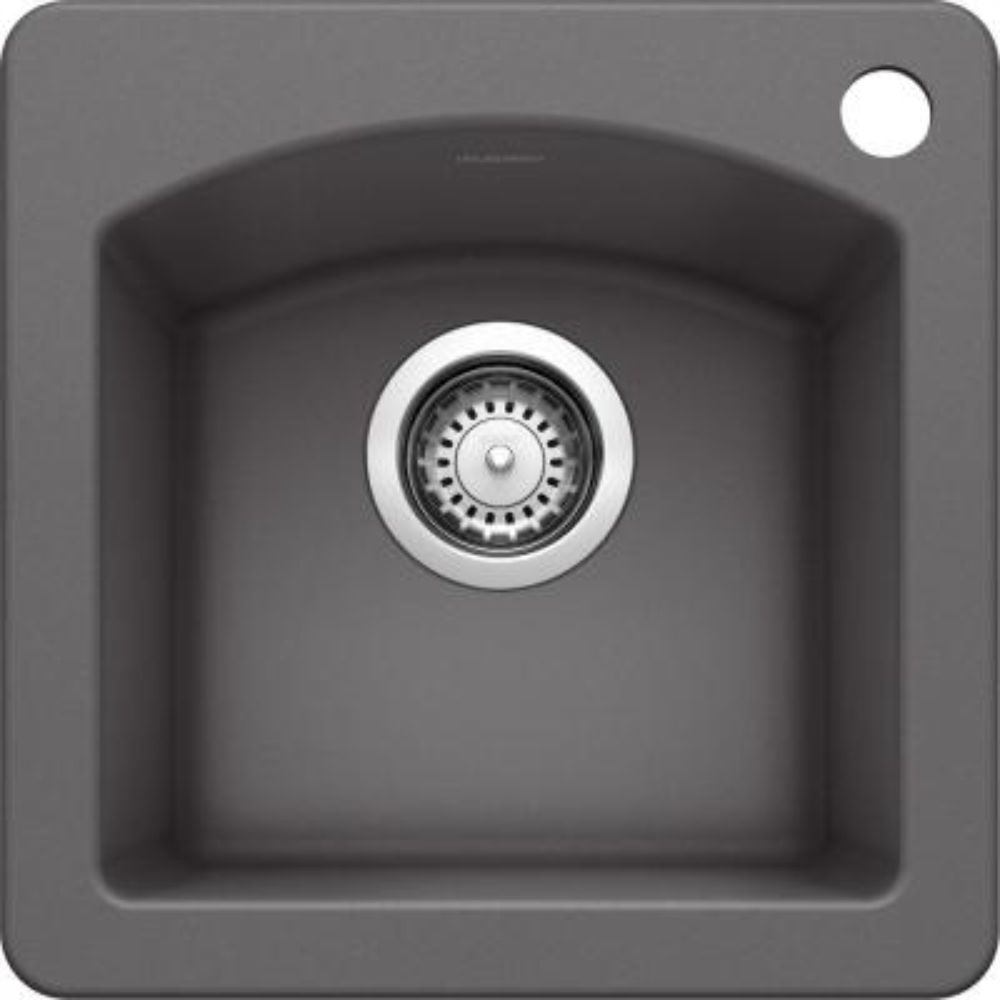 DIAMOND Dual Mount Granite Composite 15 in. 1-Hole Single Bowl Bar Sink in Cinder