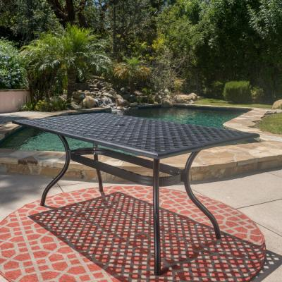 Cayman Black Sand Rectangle Aluminum Outdoor Dining Table