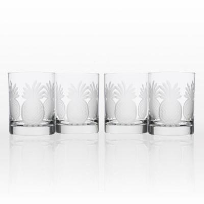 Pineapple 14 oz. Clear Double Old-Fashioned Glass (Set of 4)