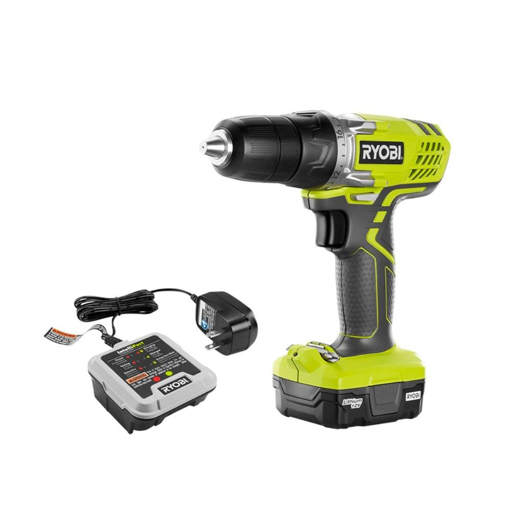 ryobi 12-volt lithium-ion cordless 3/8 in. drill/driver kit with 12
