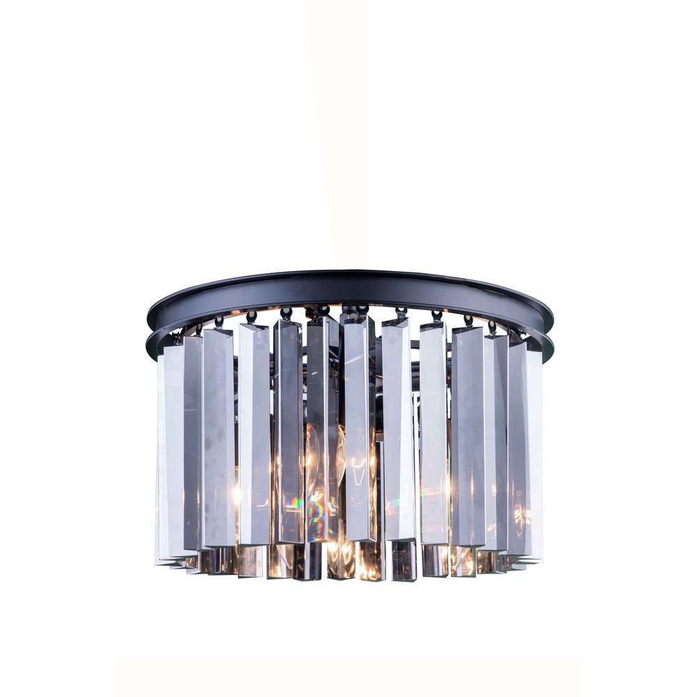 Elegant Lighting Sydney 3-Light Mocha Brown Flushmount with Silver Shade Grey Crystal