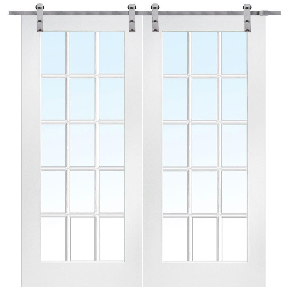 60 in. x 80 in. Primed Composite 15-Lite Clear Double Barn Door with Sliding Door Hardware Kit