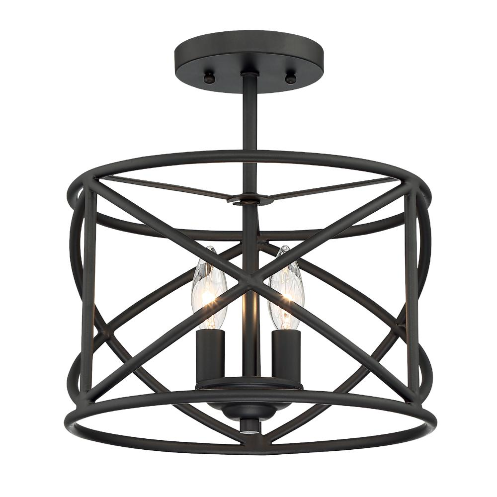 Cordelia Lighting 2 Light Satin Bronze Ceiling Semi Flush Mount