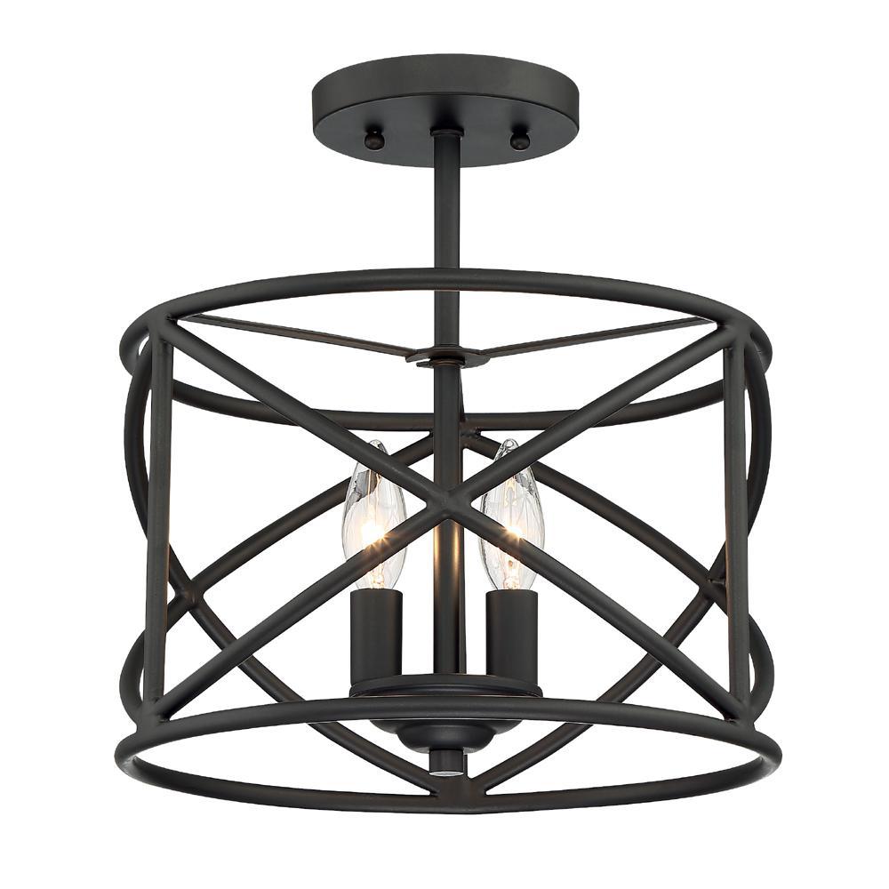 2-Light Satin Bronze Ceiling Semi Flush Mount Light