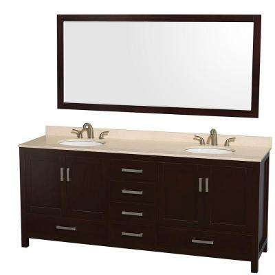 Sheffield 80 in. Double Vanity in Espresso with Marble Vanity Top in Ivory and 70 in. Mirror
