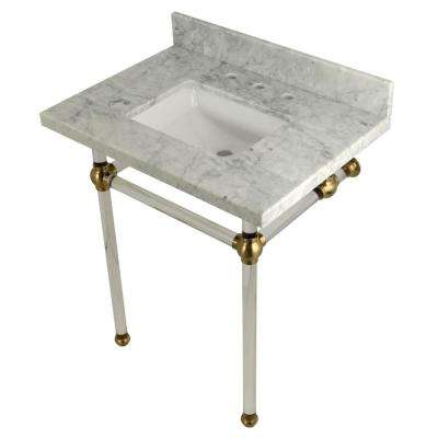 Square Sink Washstand 30 in. Console Table in Carrara Marble with Acrylic Legs in Satin Brass