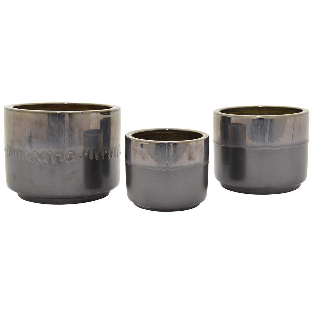 Ceramic Black Plant Pots Planters The Home Depot