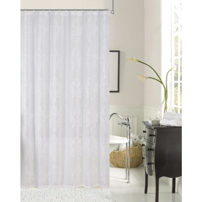 Emily 72 in. White Embroidered Shower Curtain
