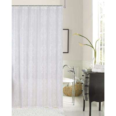 white embroidered shower curtain