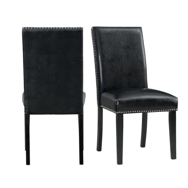 Pia Faux Leather Side Chair Set in Black