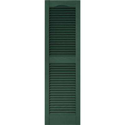 15 in. x 52 in. Louvered Vinyl Exterior Shutters Pair in #028 Forest Green