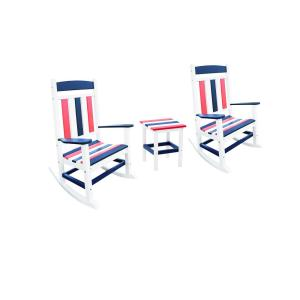 Classic Rocker Patriot 3-Piece Plastic Outdoor Chat Set