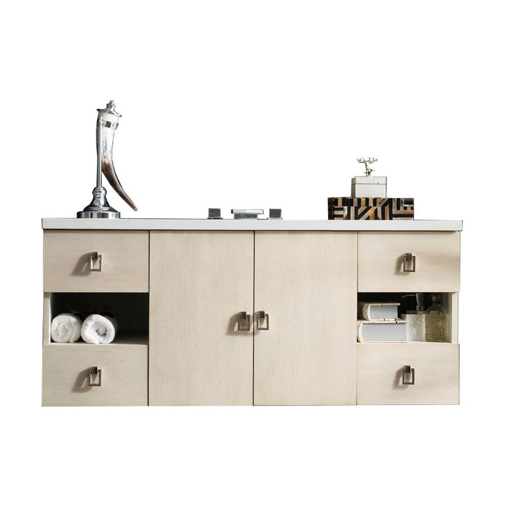 Single Vanity Vanilla Oak Solid Surface Vanity Top
