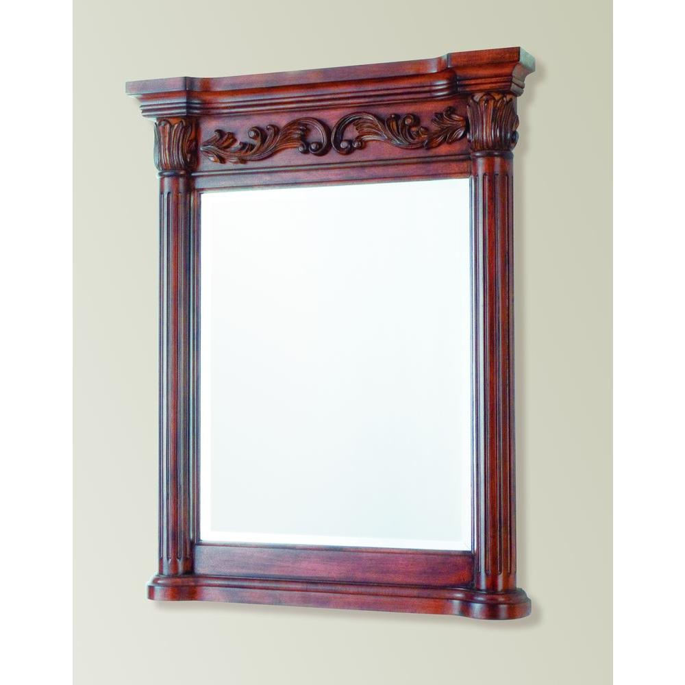 Pegasus Estates 34 in. x 28 in. Framed Mirror in Rich Mahogany-DISCONTINUED