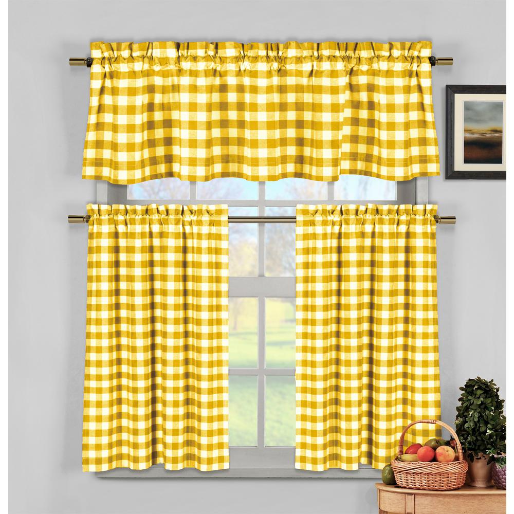 Duck River Kingston Kitchen Valance in Tiers/Yellow - 15 in. W x 58 in. L  (3-Piece)